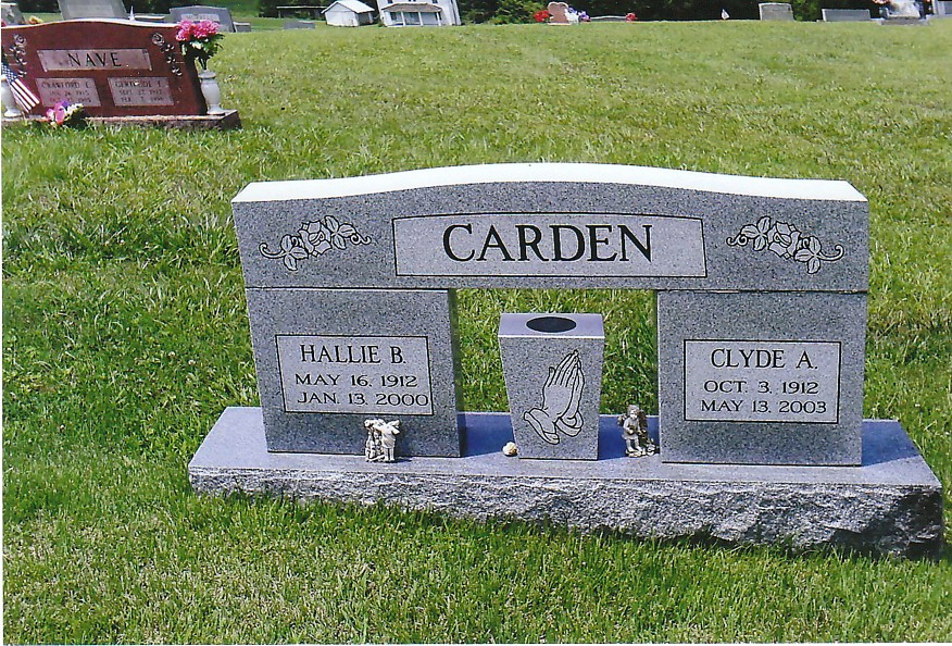 Hallie and Clyde Carden Tombstone