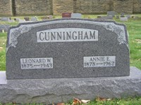 Leonard and Annie Cunningham Tombstone