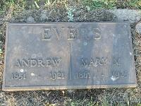 Andrew and Mary Fernelius Evers Tombstone