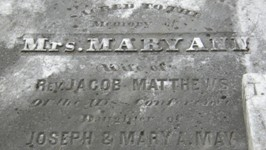 Mary Ann May Matthews - Top of Tombstone