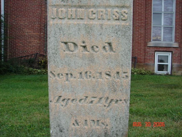 John Michael Criss, Jr. Tombstone