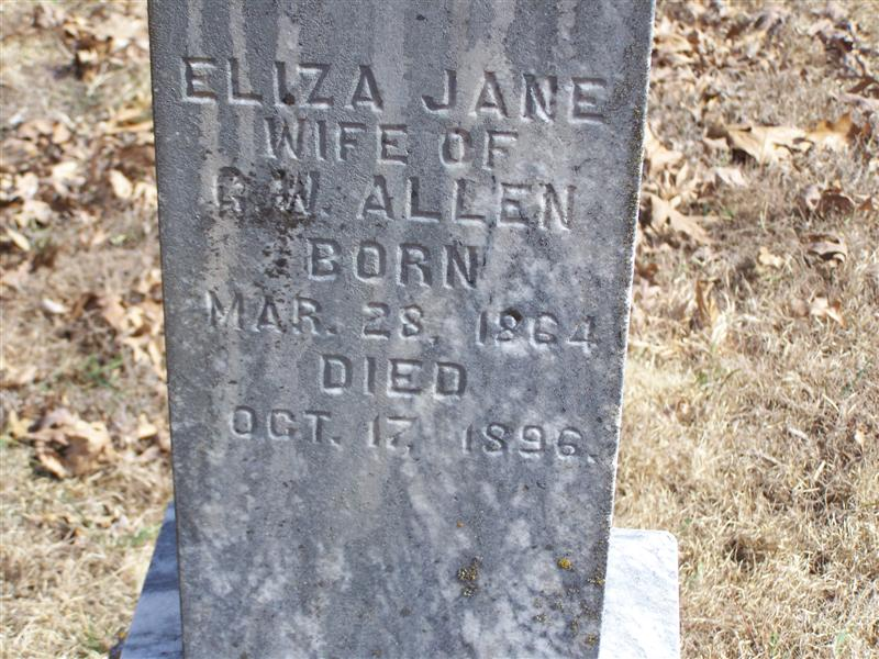 Eliza Jane Burns Allen Tombstone