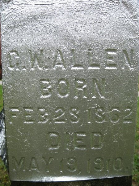 George Washington Allen Tombstone Marker