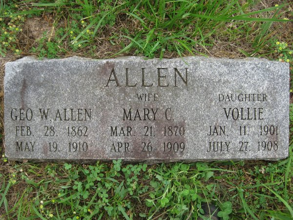 George Washington Allen, Mary C. Burns Allen and their daughter, Vollie Allen