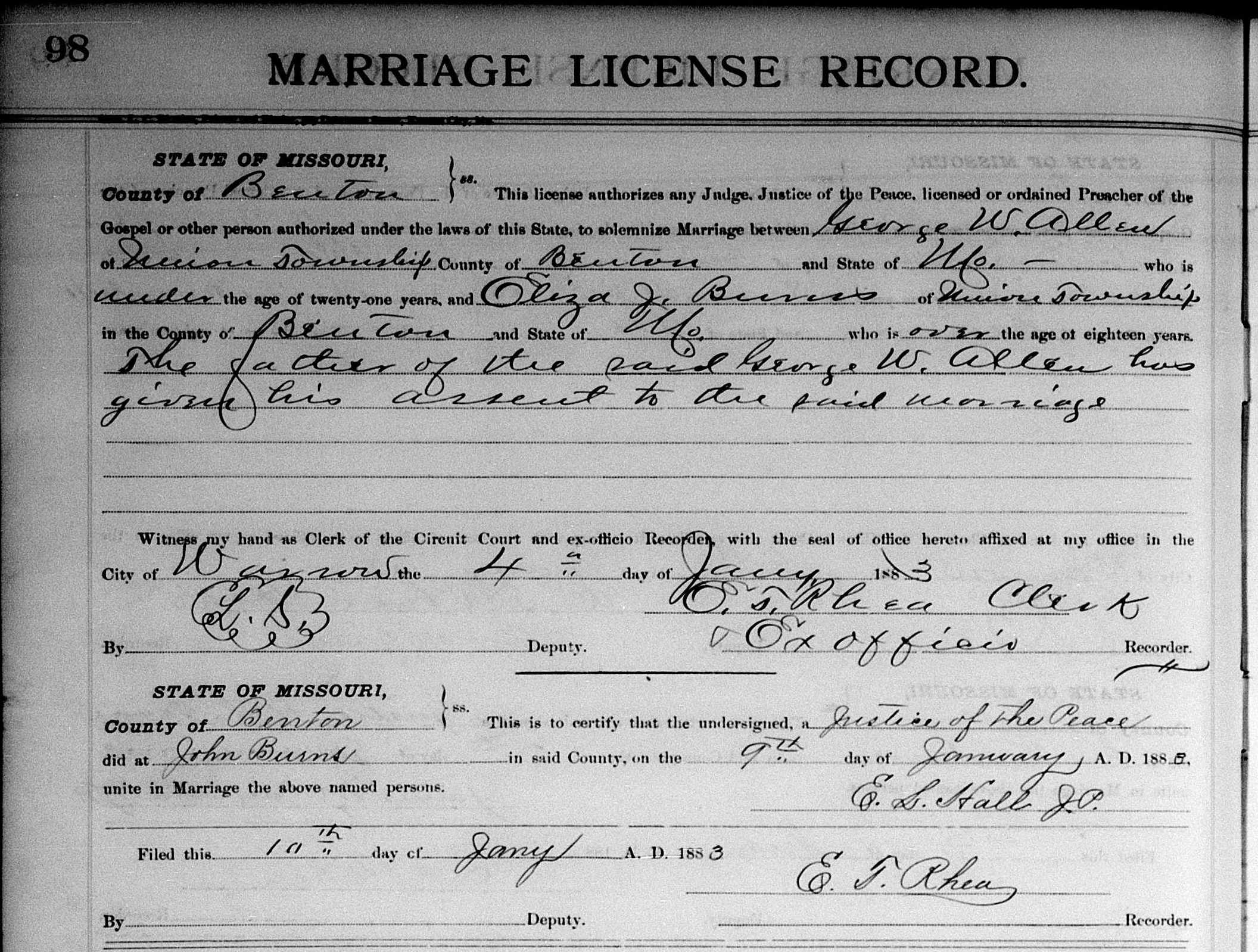 George Washington Allen and Eliza Jane Burns Marriage Record