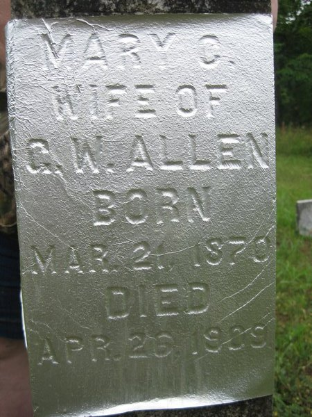 Mary C. Burns Allen Tombstone Marker